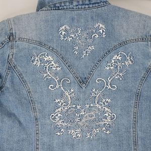 Coldwater Creek Embroidered Jean Jacket size P16